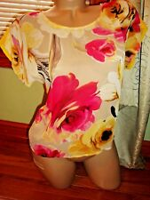 Forever 21 yellow floral sheer strappy cap sleeve top - Size S