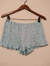 Almost famous Women's Ruffle Hem Short's Elastic Size Large Green/White