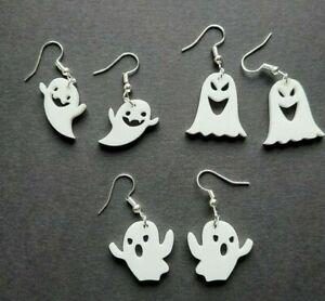Cute Halloween ghost Earrings Dangle Drop - white