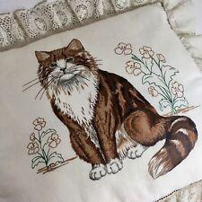 Cat Kitten Pillow Vintage W Lace Trim