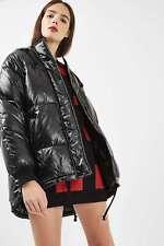 TopShop Noir à Capuche Wet Look Doudoune. UK 8. * Brillant Vinyle manteau avec capuche *