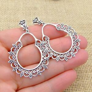Ethnic Gypsy Tribal Style Filigree 925 Sterling Silver Hoop Earrings