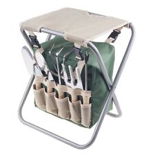 Folding Garden Stool with Tool Bag and Digging Planting Tools Handle