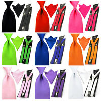 Men Satin Solid Wide 8cm Ties Necktie Hanky Pocket Square Braces Suspender Set