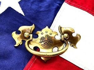 "Bald Eagle Brass Antique Hardware Colonial Chippendale Drawer Pull 2 1/2"" center"