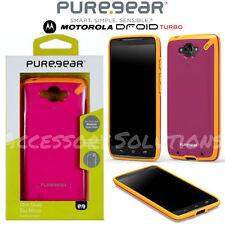 Motorola Droid Turbo Puregear Slim Shell Impact Case Cover Pink W/ Yellow Trim