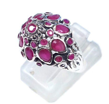 Thai Princess Ring Estate vintage Silver 925 & Natural Ruby SIZE 7 prosperity