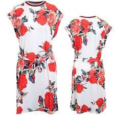 Ladies Floral Rose Tie Waist Turn Up Cap Sleeve Casual Flare Swing Blouse Dress