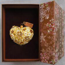 Jay Strongwater Mille Fiori Heart Golden Ornament Swarovski Elements New in Box