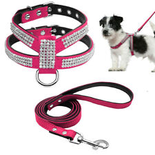 Pink Crystal Rhinestone Suede Leather Pet Dog Harness&Leash Set for Small Dogs