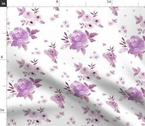 Sweet Blush Roses Violet Shabby Chic Floral Spoonflower Fabric by the Yard