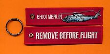 EH101 Merlin Remove Before Flight Embroidered Aviation keyring/fob/tag - New