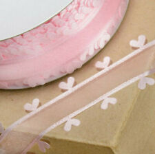 RIBBON PINK ORGANZA WITH HEART EDGING 25mm x 25M CRAFTS CAKE WEDDING FLOWERS