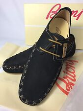 Brioni Shoes Lace Loafers Black Suede Stitches Most Comfortable Size 42/9
