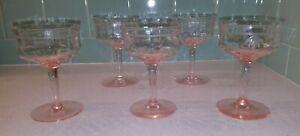 Vtg Etched Floral Pattern Pink Depression Glass Set of 5 Champagne Coupe Glasses
