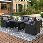 4pcs Outdoor Patio Garden Furniture Set Rattan Wicker Sofa Set W/gray Cushions