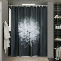 Black White Floral Fabric Shower Curtain with Hooks Waterproof Bathroom Curtains