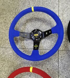 350mm Blue Suede Leather Deep Dish Drifting Spoke Steering Wheel Fit for OMP Hub