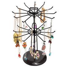 Black Metal Jewelry Organizer Necklace Tree Bracelet Stand w/ Hairclip Holder