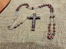 """Large 31"""" Vintage Rosary Signed """"Real Ebony Sterling"""" Silver - Crucifix - 3 3/8"""""""