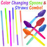 Color Changing Party Spoons & Straws Combo! Reusable Plastic Drinking Favors New