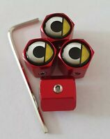 Smart Car Red Wheel Valve Dust caps ANTI THEFT all Models