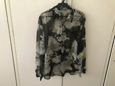 Notation B&W Sheer LS Blouse Size L