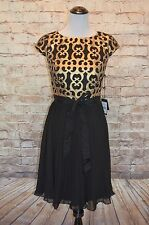 Modcloth Bold Standard dress NWT 12 Adrianna Papell black pleated faux leather