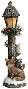 New Charming Christmas Cottage Light Up Woodland Lamp Post Perfect Room Ornament