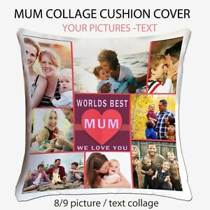 Personalised Photo Collage Mum Nana  Cushion Pillow Case Cover Mothers Day Gift