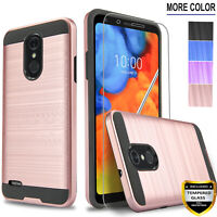 For LG K30 Phone Case, Drop Protection Cover+ Tempered Glass Protector+ Stylus