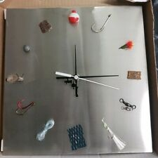 Stainless Steel Fishing Lure Wall Clock Battery operated.