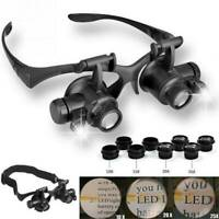 8-Lens Magnifier Magnifying Eye Glass Loupe Jeweler Watch Repair & 2LED Light AU