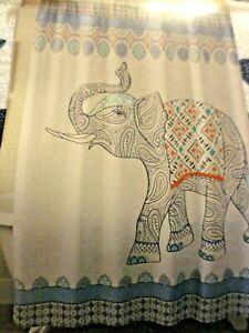 new Fabric~SHOWER CURTAIN Global ELEPHANTS reddish rust aqua navy blue Fringe