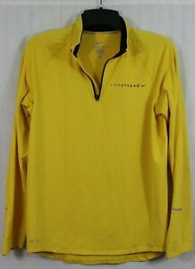 Nike Livestrong Zip Neck Pullover Jacket M Bright Yellow Long Sleeve Dri-Fit Top