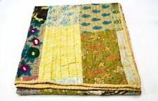 Indian kantha quilt silk patchwork khambhadia handmade bedspread vintage blanket