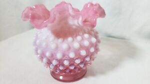 Vintage Fenton Pink and White Milk Glass Vase Pre Logo