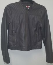 Girl's total girl moto faux leather grey jacket size XL 14/16, Zipper, Pocket's