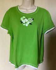 SB Active Cap Sleeve 100% Cotton Green, White Trim Floral Knit Top  Sz XL