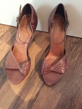 Gorgeous Brown Leather Strappy Heels Office Size 5