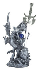 10 Inch Tall Silver Dragon And Sword Figurine