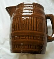 1940's Pottery Brown Barrel Pitcher