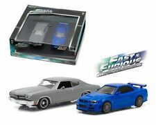 FAST AND FURIOUS 1970 CHEVELLE & 2002 NISSAN SKYLINE SET GREENLIGHT 1/43 86252