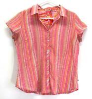IZOD Women's L Spring Summer Short Sleeve V-Neck Collared Blouse Shirt Pink