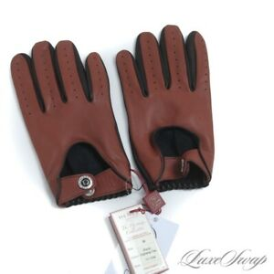 NWT Dents England Heritage Black Highway Tan Leather Unlined Driving Gloves M #5