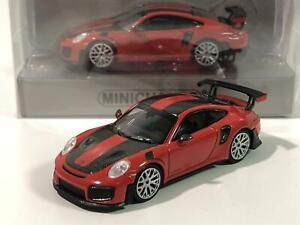 Minichamps 870068126 Porsche 911 GT2 RS 2018 Red Carbon Stripes 1:87 Scale