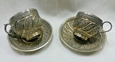 ANTIQUE ISLAMIC KASHMIR TWO SILVER TEA CUP AND SAUCER 416 GRAMS.