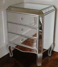 Palazzo  Mirrored Glass 3 Drawer Bedside Table Chest slight Seconds