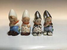Vintage Goebel Salt and Pepper Shakers P371 Silver Overlay Bashful Boy And Girl