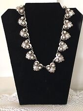 Vintage 1940-50s  Mexican Sterling Silver Vintage Grape And Leaf Choker/Necklace